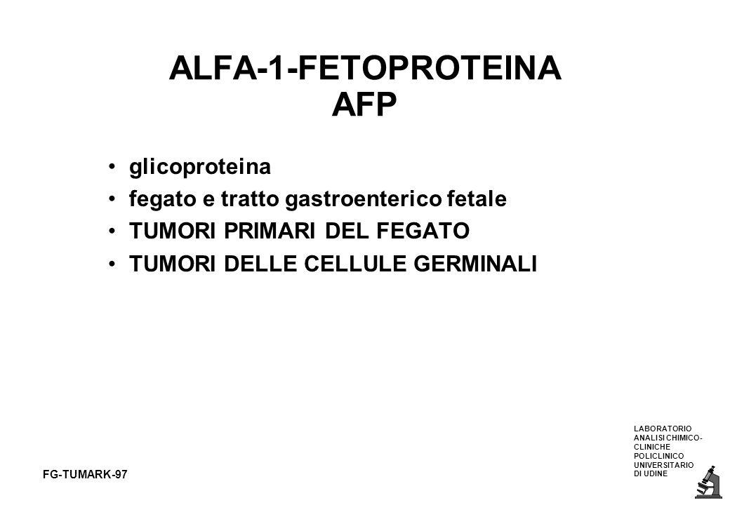 LABORATORIO ANALISI CHIMICO- CLINICHE POLICLINICO UNIVERSITARIO DI UDINE FG-TUMARK-97 ALFA-1-FETOPROTEINA AFP glicoproteina fegato e tratto gastroente