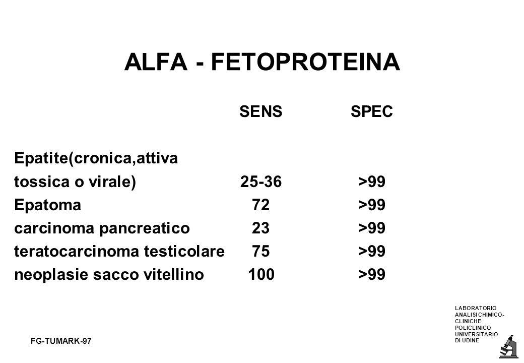 LABORATORIO ANALISI CHIMICO- CLINICHE POLICLINICO UNIVERSITARIO DI UDINE FG-TUMARK-97 ALFA - FETOPROTEINA SENSSPEC Epatite(cronica,attiva tossica o vi