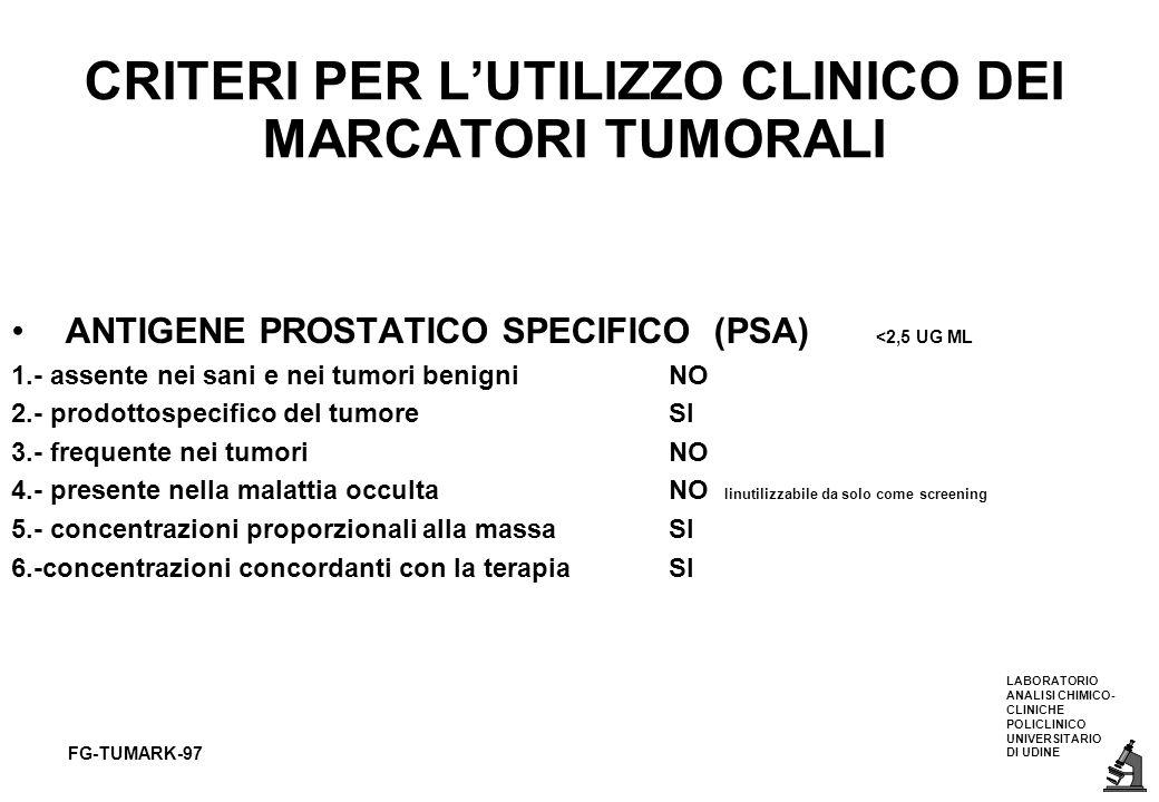 LABORATORIO ANALISI CHIMICO- CLINICHE POLICLINICO UNIVERSITARIO DI UDINE FG-TUMARK-97 CRITERI PER LUTILIZZO CLINICO DEI MARCATORI TUMORALI ANTIGENE PR