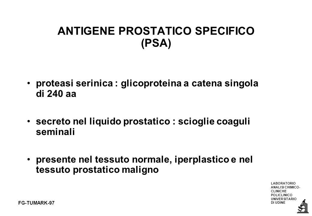 LABORATORIO ANALISI CHIMICO- CLINICHE POLICLINICO UNIVERSITARIO DI UDINE FG-TUMARK-97 ANTIGENE PROSTATICO SPECIFICO (PSA) proteasi serinica : glicopro