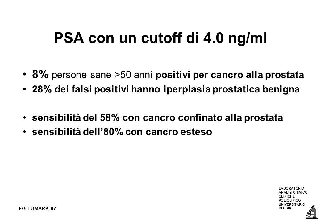 LABORATORIO ANALISI CHIMICO- CLINICHE POLICLINICO UNIVERSITARIO DI UDINE FG-TUMARK-97 PSA con un cutoff di 4.0 ng/ml 8% persone sane >50 anni positivi