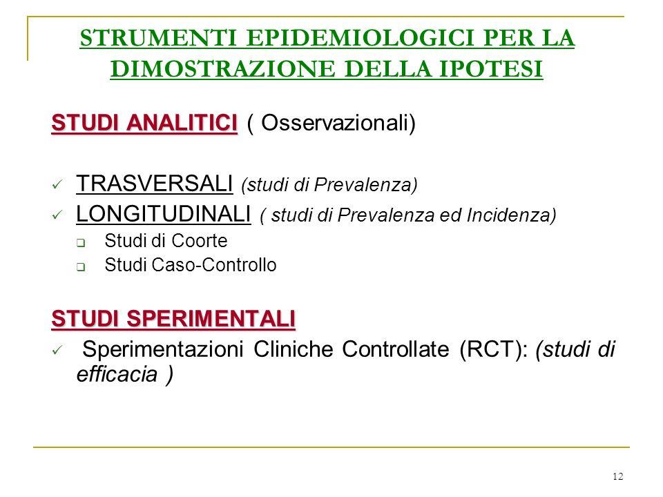 12 STRUMENTI EPIDEMIOLOGICI PER LA DIMOSTRAZIONE DELLA IPOTESI STUDI ANALITICI STUDI ANALITICI ( Osservazionali) TRASVERSALI (studi di Prevalenza) LONGITUDINALI ( studi di Prevalenza ed Incidenza) Studi di Coorte Studi Caso-Controllo STUDI SPERIMENTALI Sperimentazioni Cliniche Controllate (RCT): (studi di efficacia )