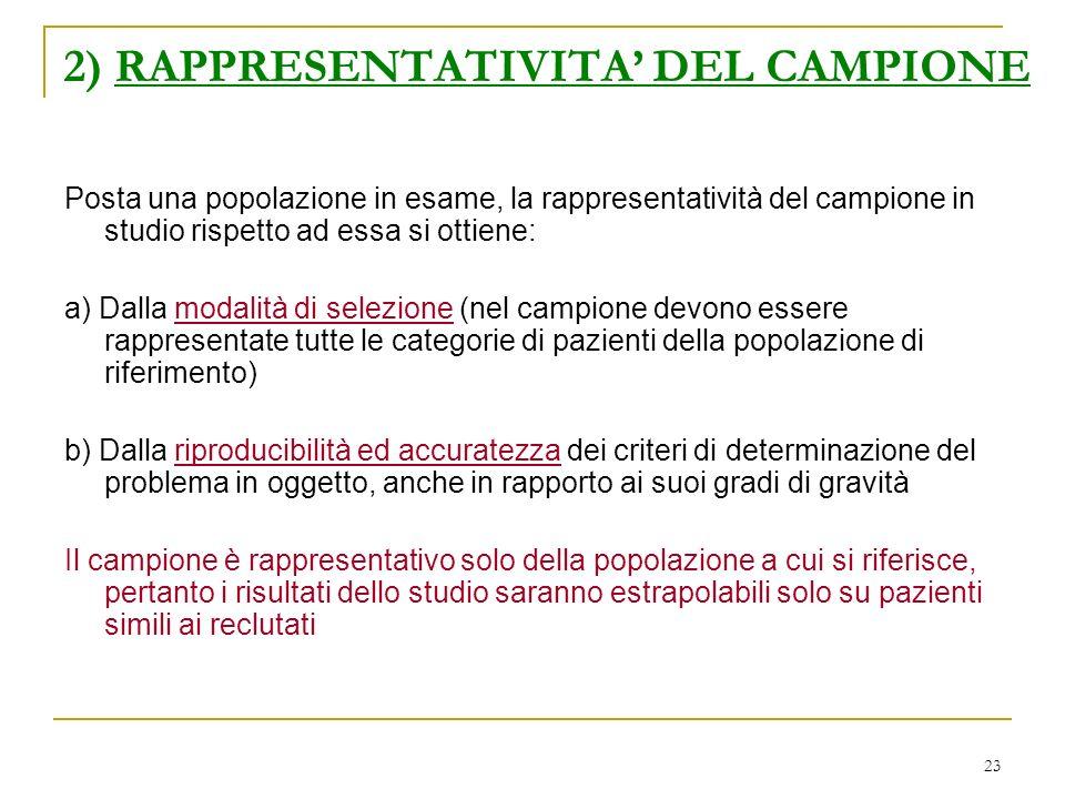 23 2) RAPPRESENTATIVITA DEL CAMPIONE Posta una popolazione in esame, la rappresentatività del campione in studio rispetto ad essa si ottiene: a) Dalla