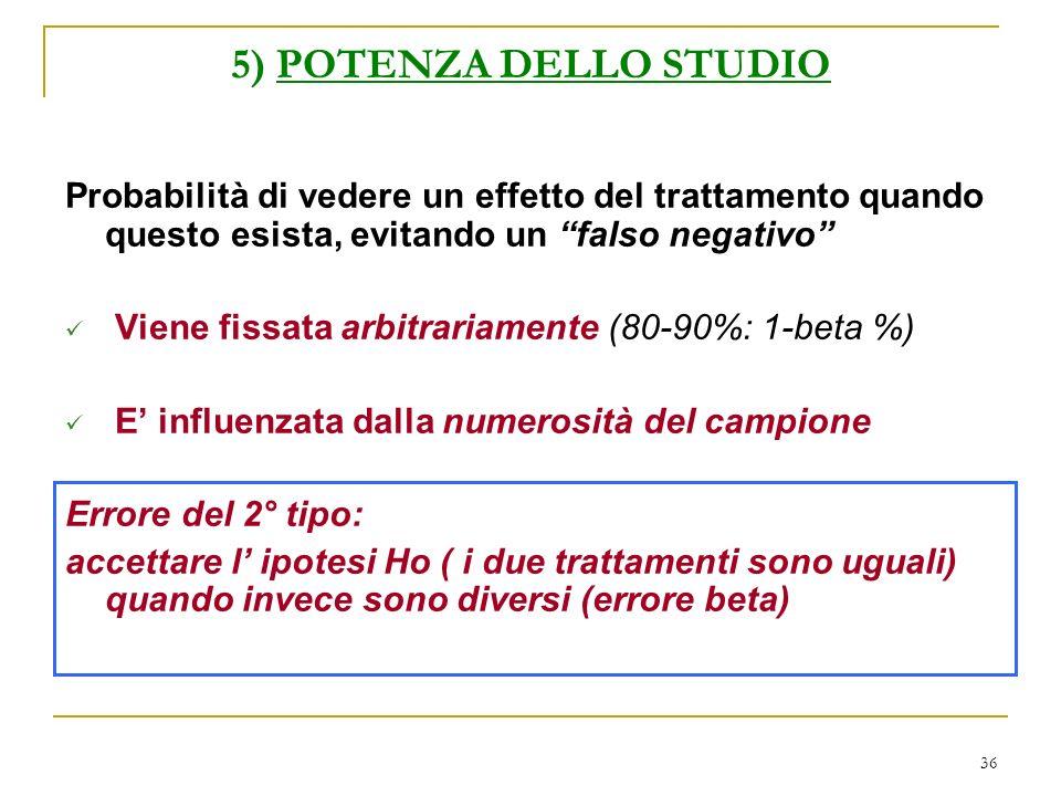 36 5) POTENZA DELLO STUDIO Probabilità di vedere un effetto del trattamento quando questo esista, evitando un falso negativo Viene fissata arbitrariam