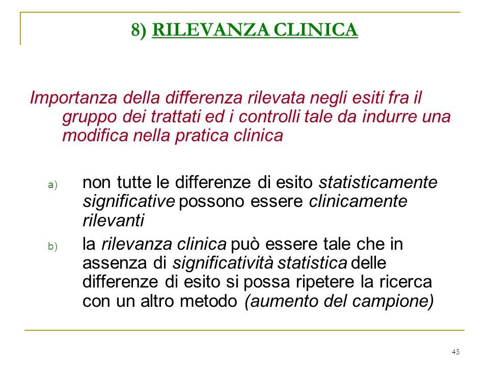 45 8) RILEVANZA CLINICA Importanza della differenza rilevata negli esiti fra il gruppo dei trattati ed i controlli tale da indurre una modifica nella