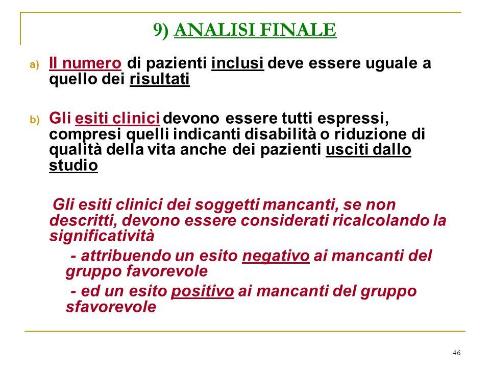 46 9) ANALISI FINALE a) Il numero di pazienti inclusi deve essere uguale a quello dei risultati b) Gli esiti clinici devono essere tutti espressi, com