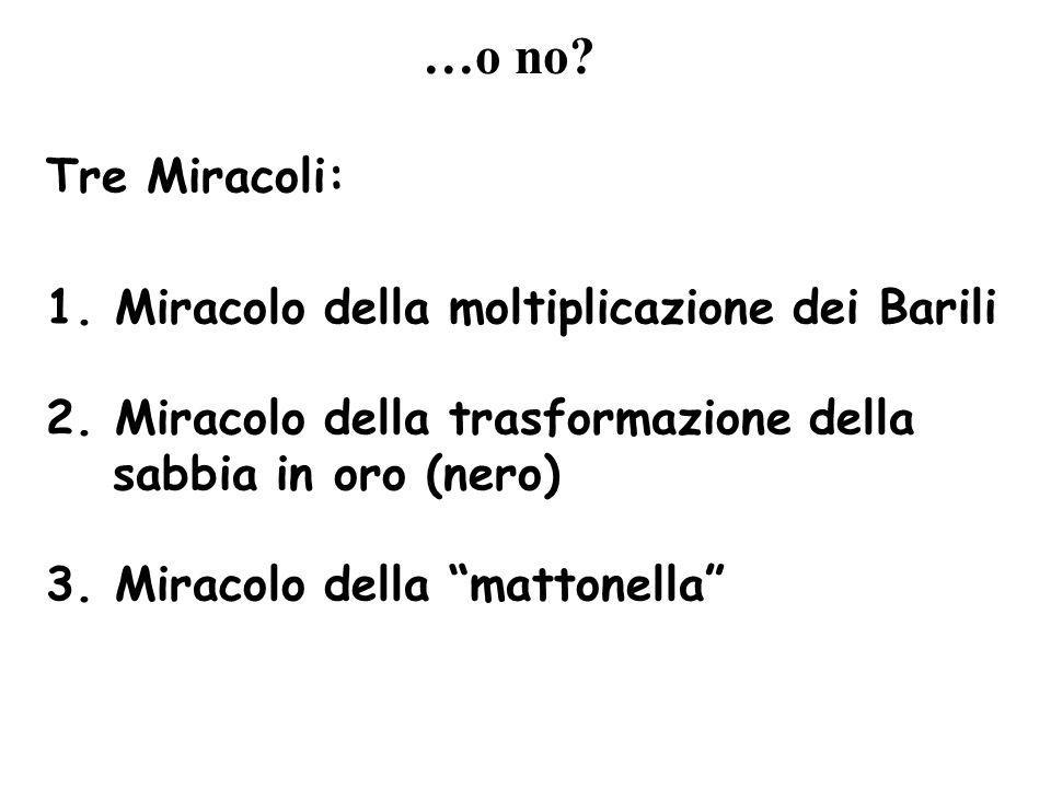 Tre Miracoli: 1.Miracolo della moltiplicazione dei Barili 2.