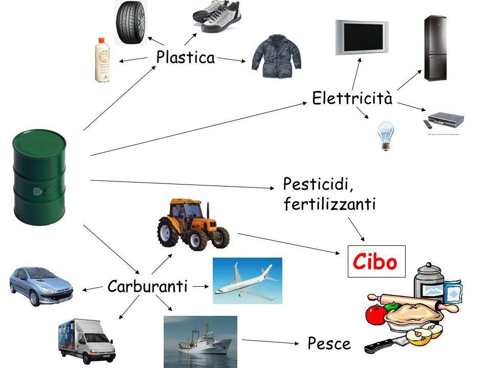 Plastica Pesticidi, fertilizzanti Carburanti Elettricità Pesce Cibo