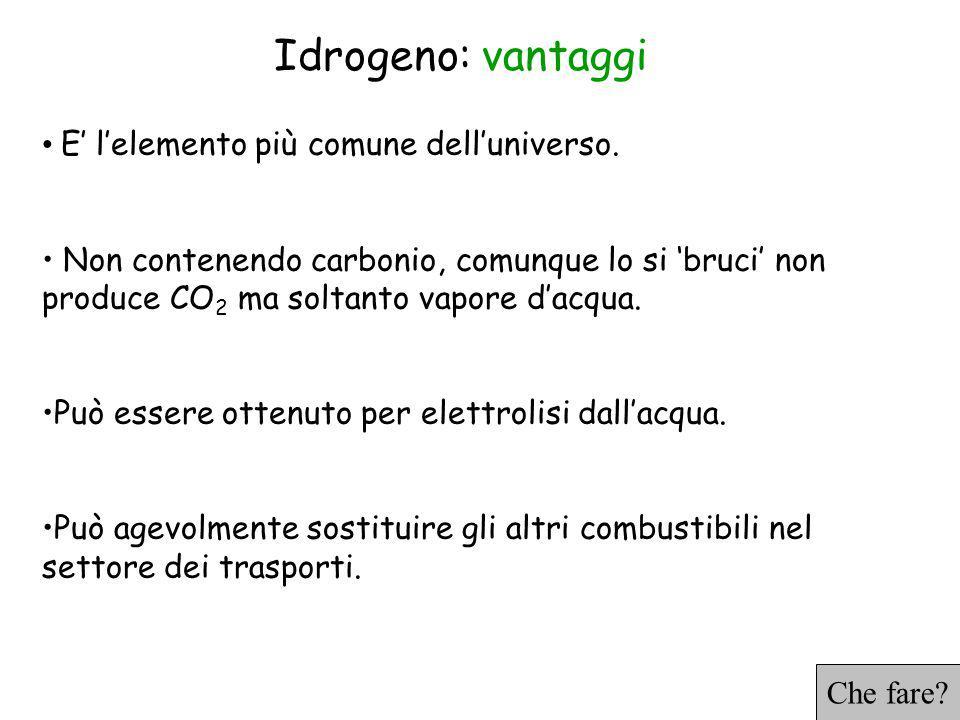 Idrogeno: vantaggi E lelemento più comune delluniverso.