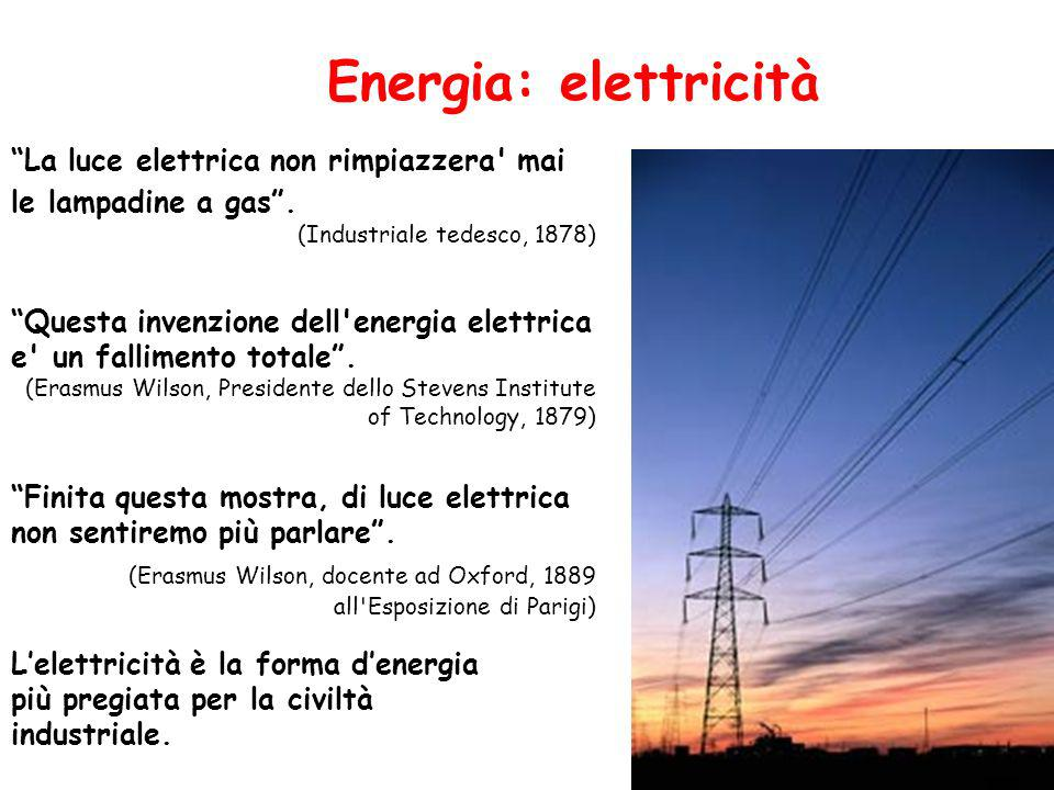 Energia: elettricità Lelettricità è la forma denergia più pregiata per la civiltà industriale.