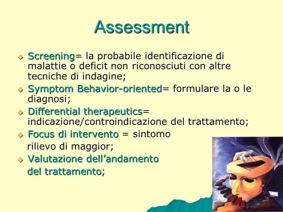 Assessment Screening= la probabile identificazione di malattie o deficit non riconosciuti con altre tecniche di indagine; Screening= la probabile iden