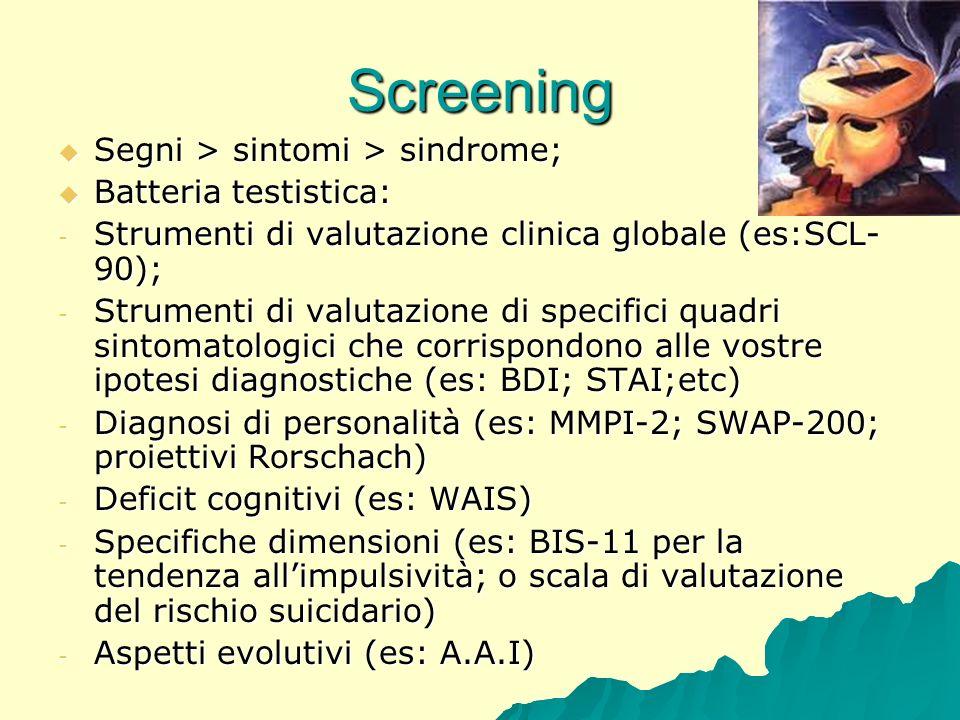 Screening Segni > sintomi > sindrome; Segni > sintomi > sindrome; Batteria testistica: Batteria testistica: - Strumenti di valutazione clinica globale
