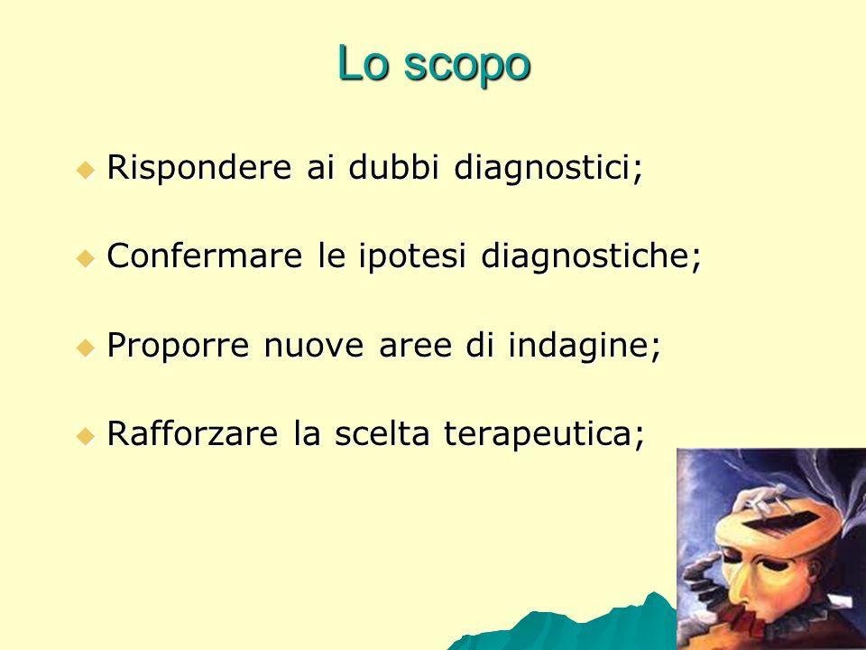 Lo scopo Rispondere ai dubbi diagnostici; Rispondere ai dubbi diagnostici; Confermare le ipotesi diagnostiche; Confermare le ipotesi diagnostiche; Pro