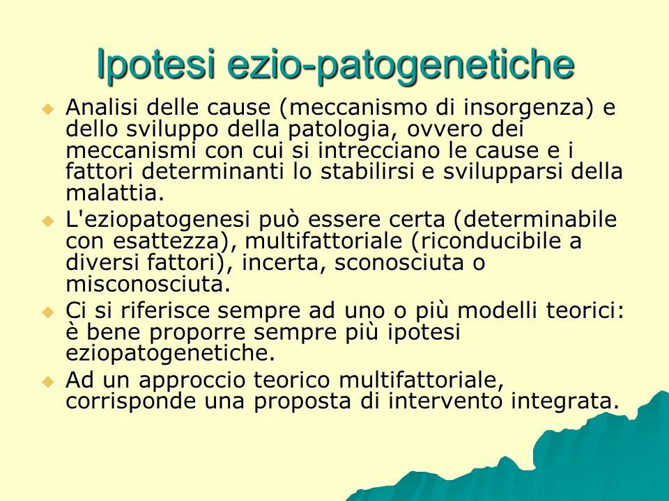 Ipotesi ezio-patogenetiche Analisi delle cause (meccanismo di insorgenza) e dello sviluppo della patologia, ovvero dei meccanismi con cui si intreccia