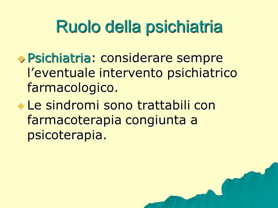 Ruolo della psichiatria Psichiatria: considerare sempre leventuale intervento psichiatrico farmacologico. Psichiatria: considerare sempre leventuale i