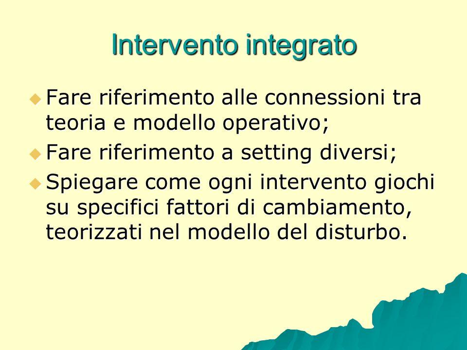 Intervento integrato Fare riferimento alle connessioni tra teoria e modello operativo; Fare riferimento alle connessioni tra teoria e modello operativ