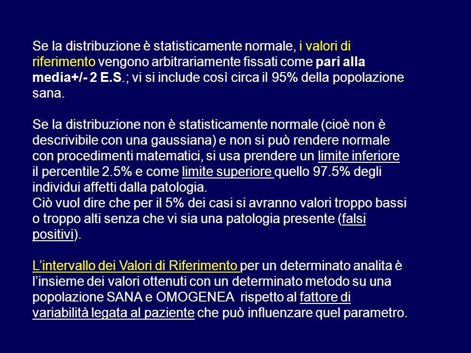 Se la distribuzione è statisticamente normale, i valori di riferimento vengono arbitrariamente fissati come pari alla media+/- 2 E.S.; vi si include c