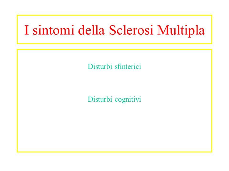 I sintomi della Sclerosi Multipla Disturbi sfinterici Disturbi cognitivi