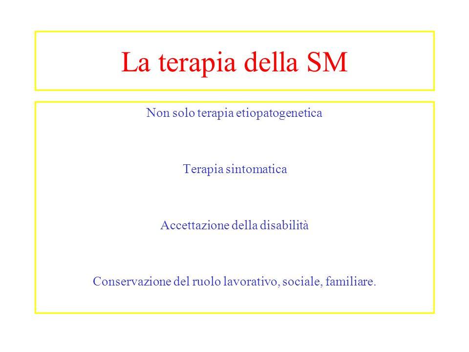 La terapia della SM Non solo terapia etiopatogenetica Terapia sintomatica Accettazione della disabilità Conservazione del ruolo lavorativo, sociale, f