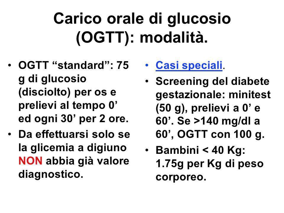 Diabetes ( ): passare attraverso 1964: il WHO stabilisce/propone i primi criteri diagnostici mediante il carico orale di tolleranza GLUCOSIO (OGTT). I