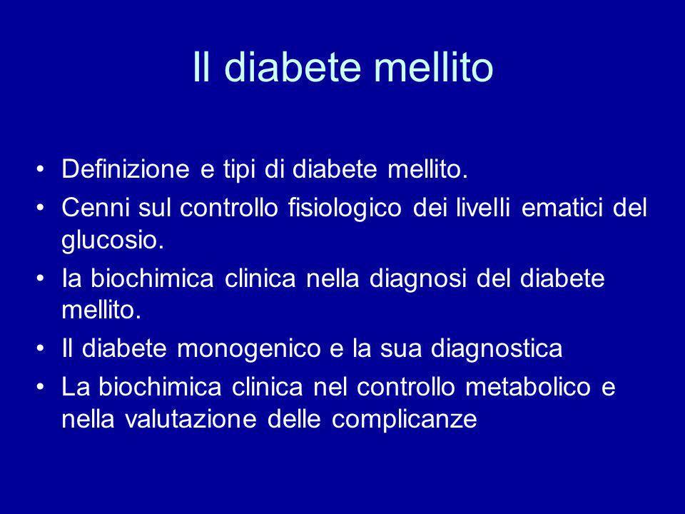 Il diabete mellito Definizione e tipi di diabete mellito.