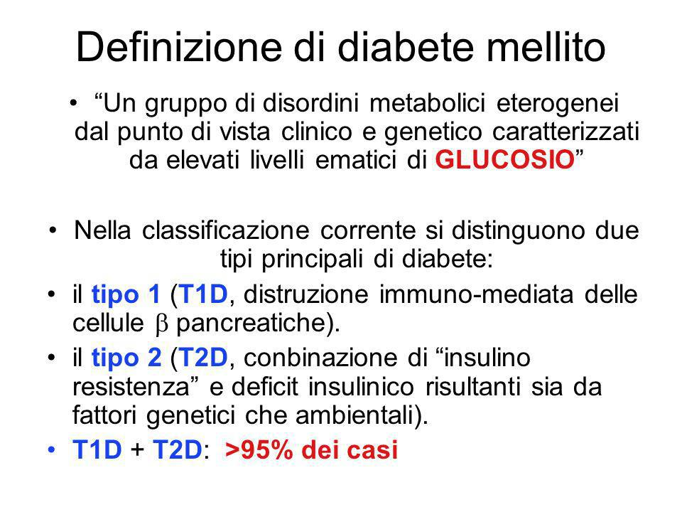 Definizione di diabete mellito Un gruppo di disordini metabolici eterogenei dal punto di vista clinico e genetico caratterizzati da elevati livelli ematici di GLUCOSIO Nella classificazione corrente si distinguono due tipi principali di diabete: il tipo 1 (T1D, distruzione immuno-mediata delle cellule pancreatiche).