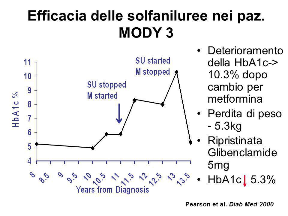Mutazioni MODY 3/HNF-1 : possibili meccanismi di iperglicemia Topo HNF-1 -/-. Ridotta espressione genica nella cellula di: 1) Ins-1 (ma non Ins-2) 2)