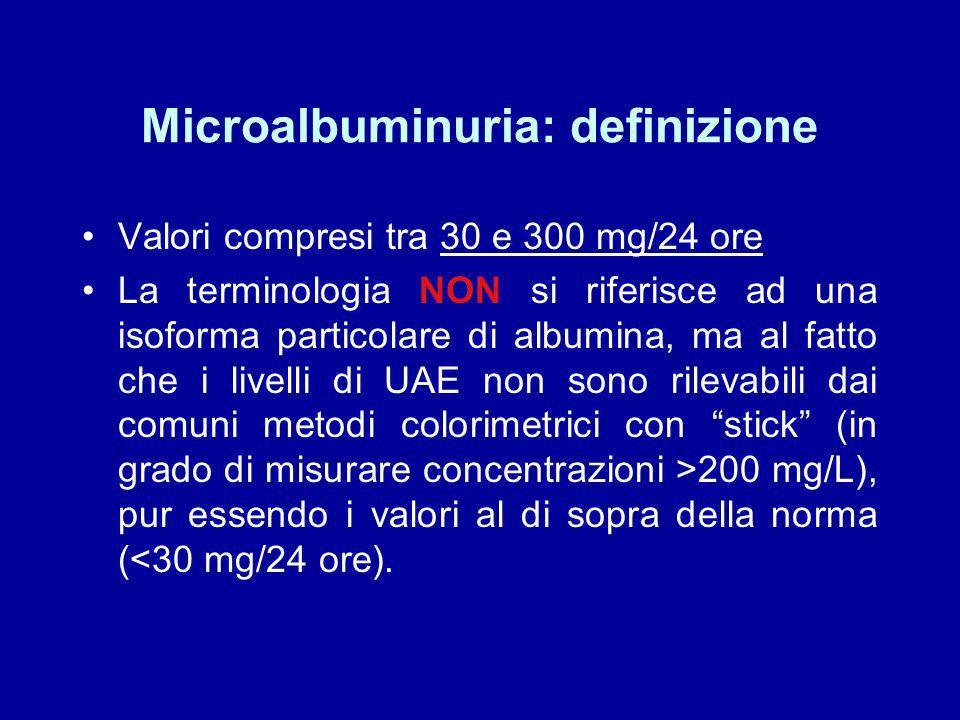 Il ruolo della biochimica clinica nella valutazione della nefropatia diabetica. 1)Laumento di escrezione urinaria di albumina (UAE) è un marcatore di