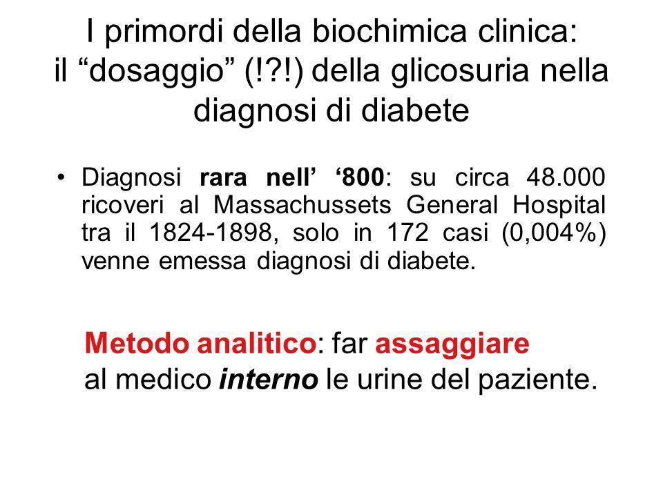 I primordi della biochimica clinica: il dosaggio (!?!) della glicosuria nella diagnosi di diabete Diagnosi rara nell 800: su circa 48.000 ricoveri al Massachussets General Hospital tra il 1824-1898, solo in 172 casi (0,004%) venne emessa diagnosi di diabete.