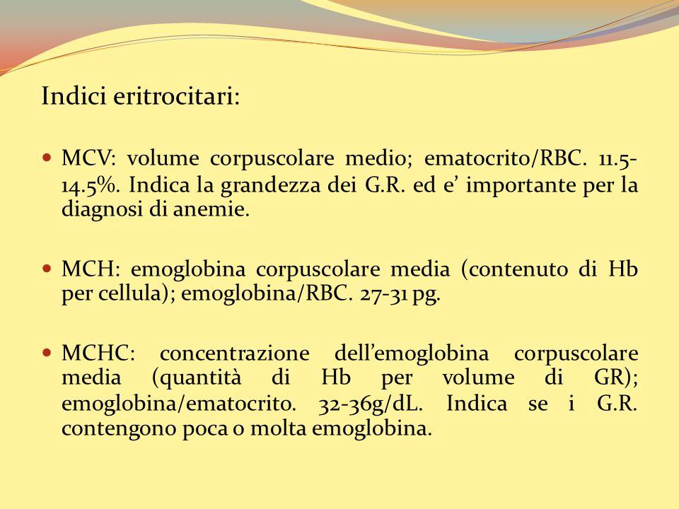 Indici eritrocitari: MCV: volume corpuscolare medio; ematocrito/RBC.