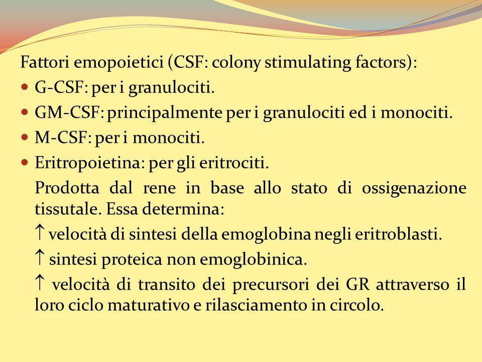 Fattori emopoietici (CSF: colony stimulating factors): G-CSF: per i granulociti.