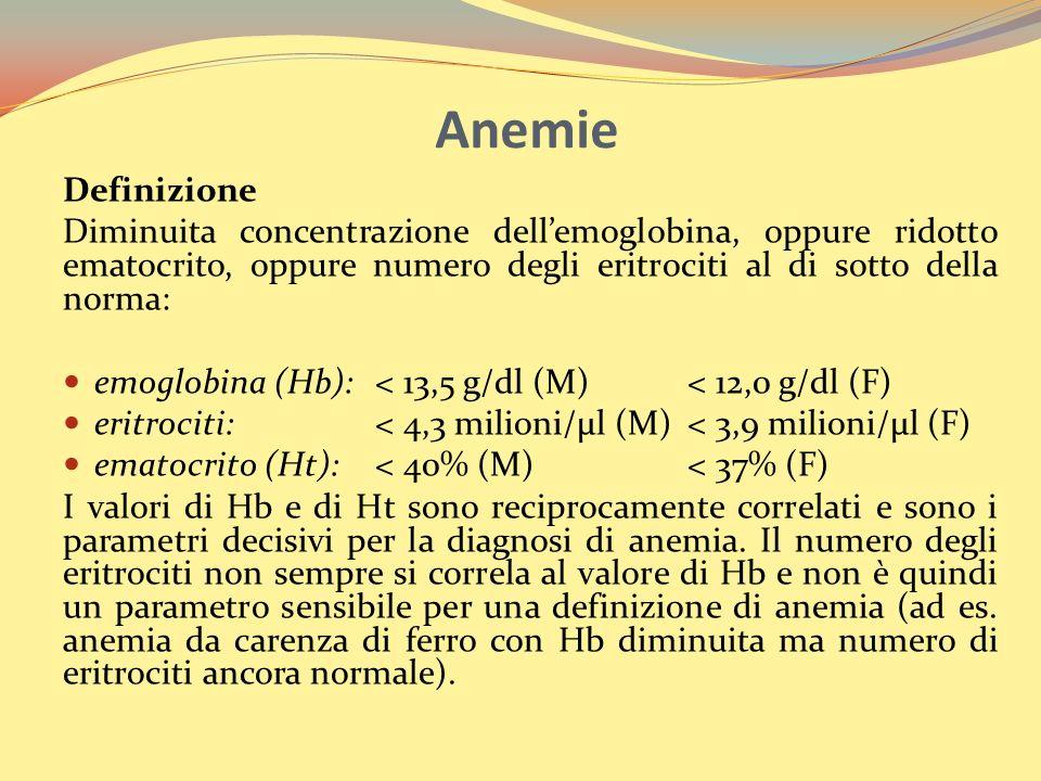 Anemie Definizione Diminuita concentrazione dellemoglobina, oppure ridotto ematocrito, oppure numero degli eritrociti al di sotto della norma: emoglobina (Hb):< 13,5 g/dl (M) < 12,0 g/dl (F) eritrociti: < 4,3 milioni/µl (M)< 3,9 milioni/µl (F) ematocrito (Ht):< 40% (M)< 37% (F) I valori di Hb e di Ht sono reciprocamente correlati e sono i parametri decisivi per la diagnosi di anemia.