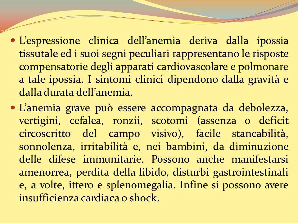 Lespressione clinica dellanemia deriva dalla ipossia tissutale ed i suoi segni peculiari rappresentano le risposte compensatorie degli apparati cardiovascolare e polmonare a tale ipossia.