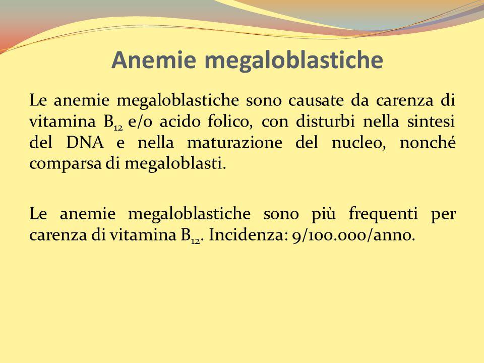 Anemie megaloblastiche Le anemie megaloblastiche sono causate da carenza di vitamina B 12 e/o acido folico, con disturbi nella sintesi del DNA e nella maturazione del nucleo, nonché comparsa di megaloblasti.