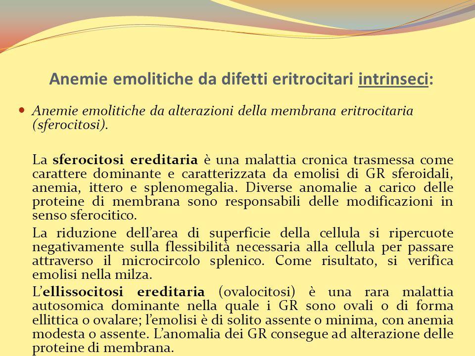 Anemie emolitiche da difetti eritrocitari intrinseci: Anemie emolitiche da alterazioni della membrana eritrocitaria (sferocitosi).