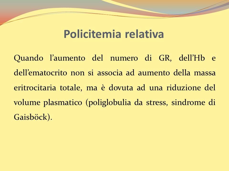 Policitemia relativa Quando laumento del numero di GR, dellHb e dellematocrito non si associa ad aumento della massa eritrocitaria totale, ma è dovuta ad una riduzione del volume plasmatico (poliglobulia da stress, sindrome di Gaisböck).