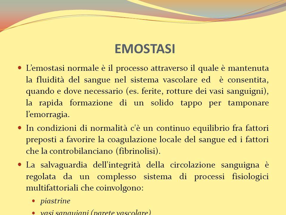 EMOSTASI Lemostasi normale è il processo attraverso il quale è mantenuta la fluidità del sangue nel sistema vascolare ed è consentita, quando e dove necessario (es.