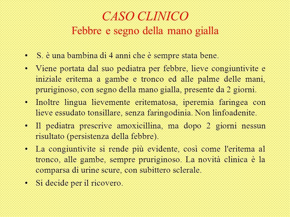 CASO CLINICO Febbre e segno della mano gialla S. è una bambina di 4 anni che è sempre stata bene.