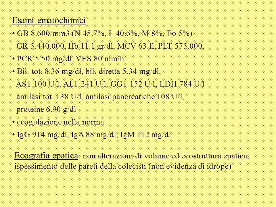 Ecografia epatica : non alterazioni di volume ed ecostruttura epatica, ispessimento delle pareti della colecisti (non evidenza di idrope) Esami ematochimici GB 8.600/mm3 (N 45.7%, L 40.6%, M 8%, Eo 5%) GR 5.440.000, Hb 11.1 gr/dl, MCV 63 fl, PLT 575.000, PCR 5.50 mg/dl, VES 80 mm/h Bil.