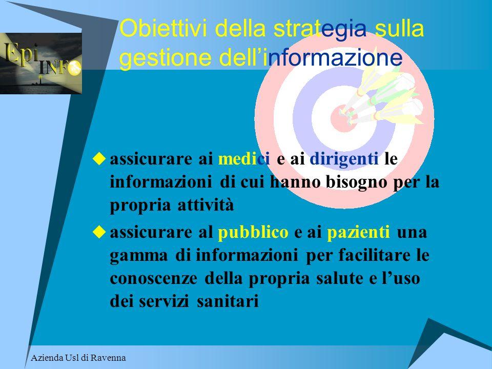 Azienda Usl di Ravenna Obiettivi della strategia sulla gestione dellinformazione assicurare ai medici e ai dirigenti le informazioni di cui hanno biso