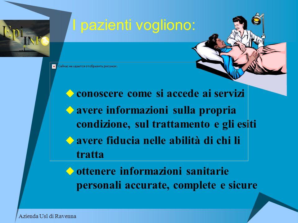 Azienda Usl di Ravenna I pazienti vogliono: conoscere come si accede ai servizi avere informazioni sulla propria condizione, sul trattamento e gli esi