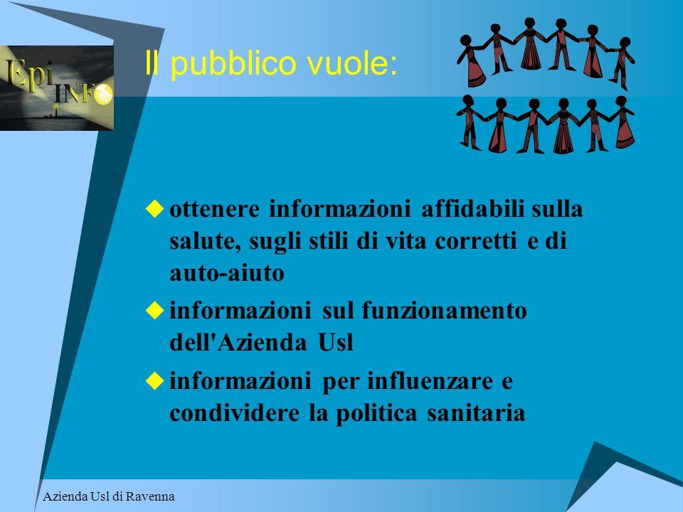 Azienda Usl di Ravenna Il pubblico vuole: ottenere informazioni affidabili sulla salute, sugli stili di vita corretti e di auto-aiuto informazioni sul