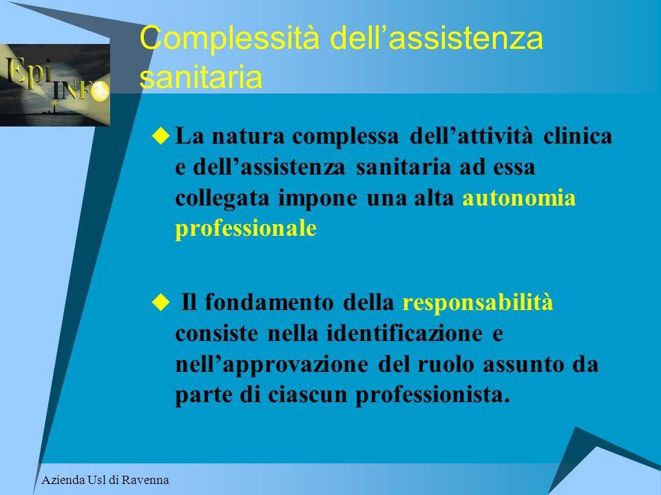 Azienda Usl di Ravenna Complessità dellassistenza sanitaria La natura complessa dellattività clinica e dellassistenza sanitaria ad essa collegata impo