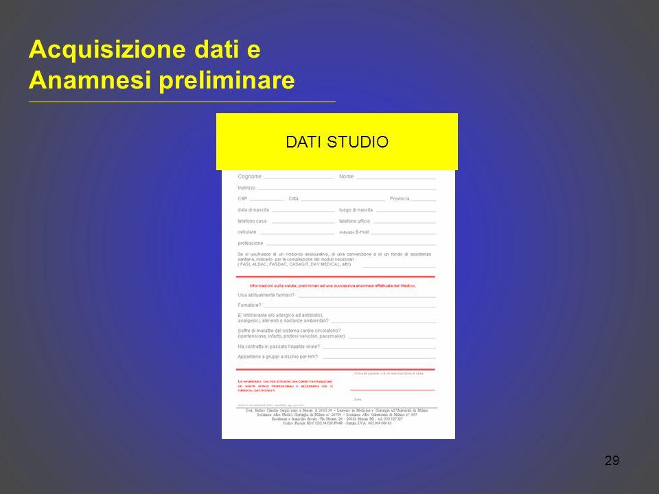 29 Acquisizione dati e Anamnesi preliminare DATI STUDIO