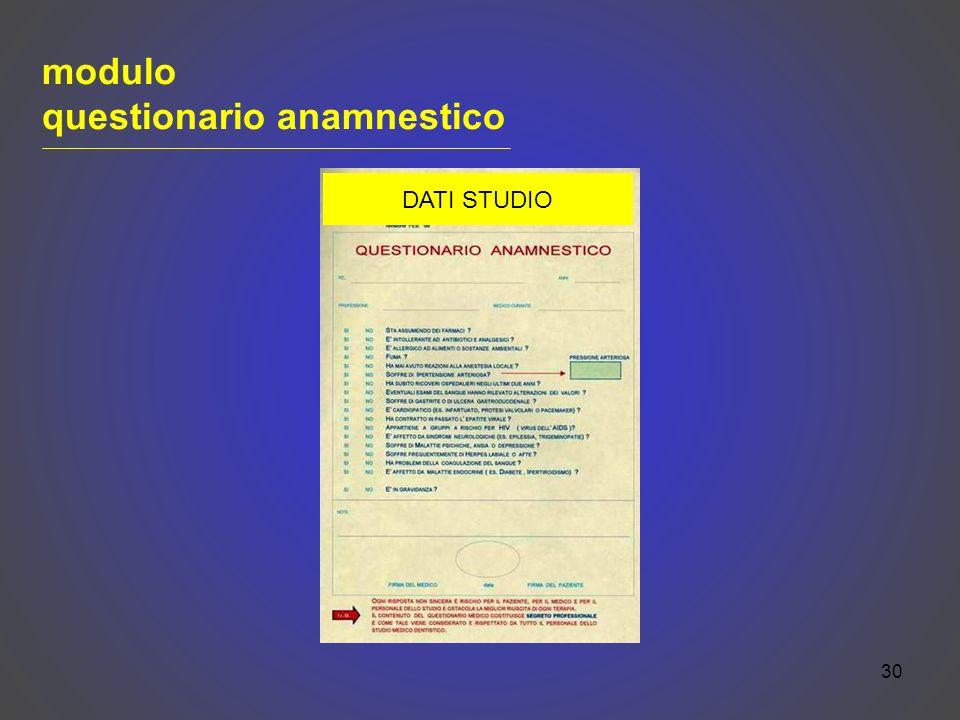 30 modulo questionario anamnestico DATI STUDIO