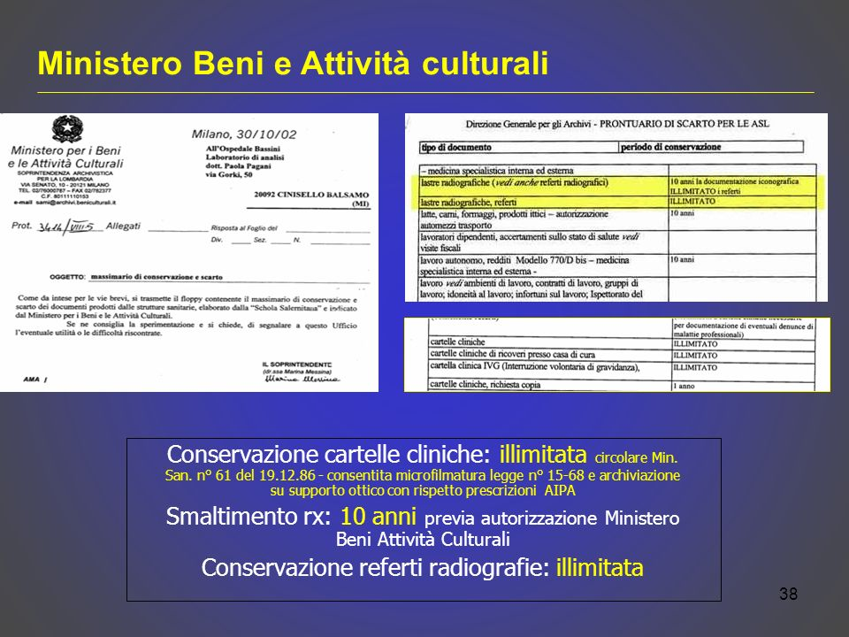 Conservazione cartelle cliniche: illimitata circolare Min.
