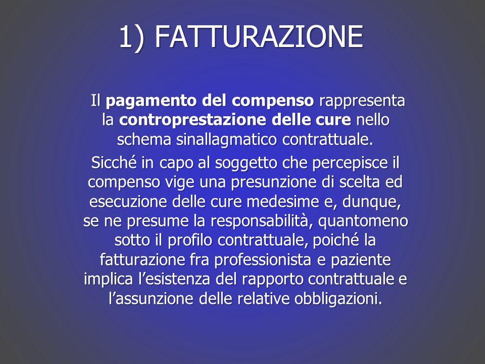 1) FATTURAZIONE Il pagamento del compenso rappresenta la controprestazione delle cure nello schema sinallagmatico contrattuale.
