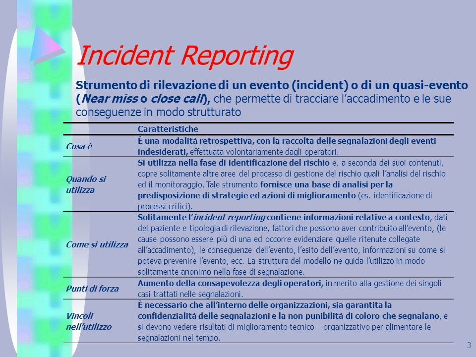 3 Incident Reporting Strumento di rilevazione di un evento (incident) o di un quasi-evento (Near miss o close call), che permette di tracciare laccadi