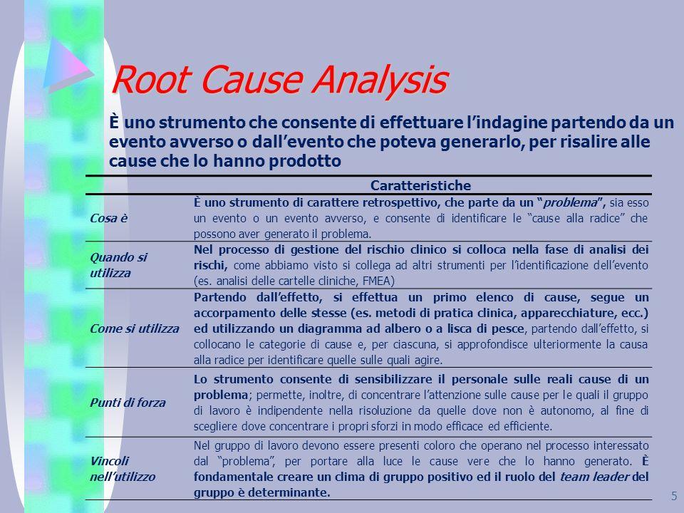 5 Root Cause Analysis È uno strumento che consente di effettuare lindagine partendo da un evento avverso o dallevento che poteva generarlo, per risali