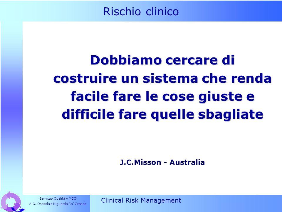 Rischio clinico Clinical Risk Management Dobbiamo cercare di costruire un sistema che renda facile fare le cose giuste e difficile fare quelle sbaglia